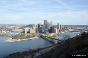 Downtown Pittsburgh skyline as seen from Mount Washington, November 26, 2015