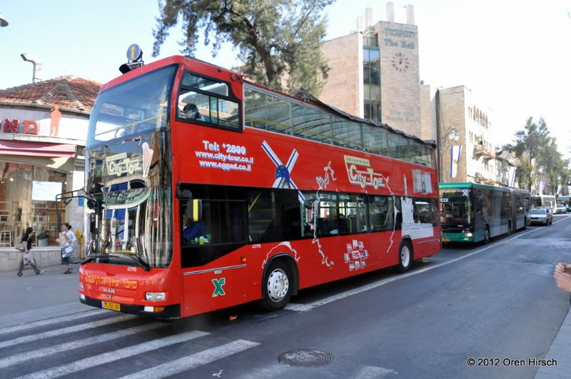 MAN Double Decker 43190 On King George Street At Derech Yafo Jaffa Road April 4 2012